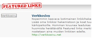 Vastalinkin tekij� saa featured links merkinn�n.